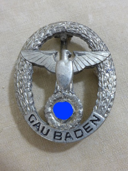 NSDAP Gau Baden badge of honour badge Gauabzeichen silver