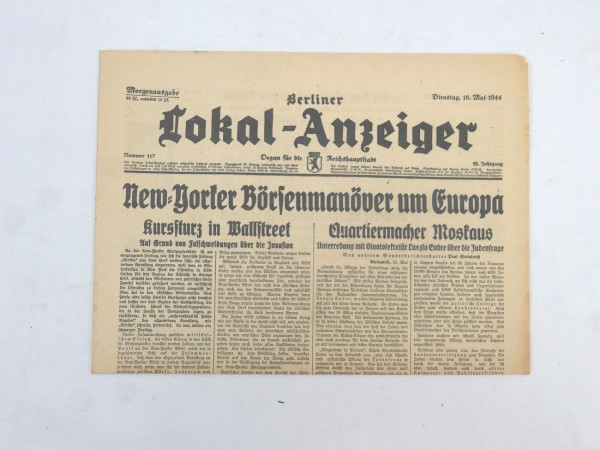 WK2 Complete daily newspaper - Berliner Lokal-Anzeiger 16 May 1944 - morning edition