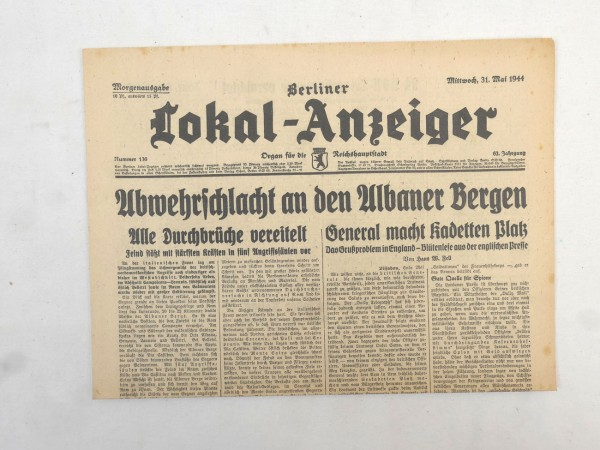 WK2 Complete daily newspaper - Berliner Lokal-Anzeiger 31 May 1944 - morning edition