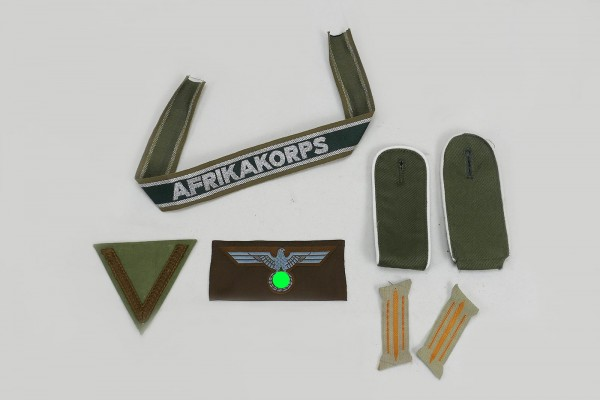 Africa Corps Army Badge Breast Eagle + Corporal Angle + Sleeve Band + Epaulettes + Collar Spike
