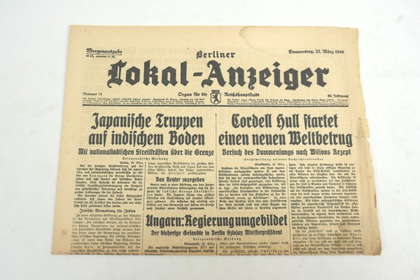 WK2 newspaper Berlin daily newspaper - Berliner Lokal-Anzeiger 23 March 1944 - morning edition