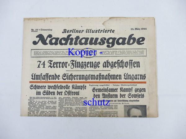 WK2 daily newspaper Berliner Illustrierte Nachtausgabe newspaper 23 March 1944