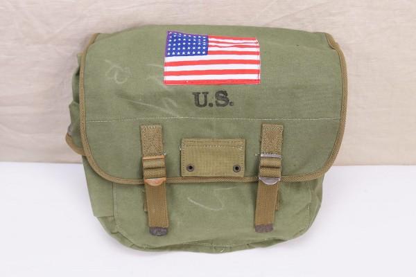 US MUSETTE BAG WW2 combat bag paratrooper bag with patch US flag