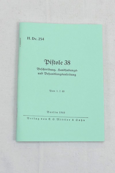 Description Handling and treatment instructions - Pistol 38 - Booklet Brochure