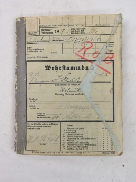 Military register 1943 with inlays Langenzehn Bayern