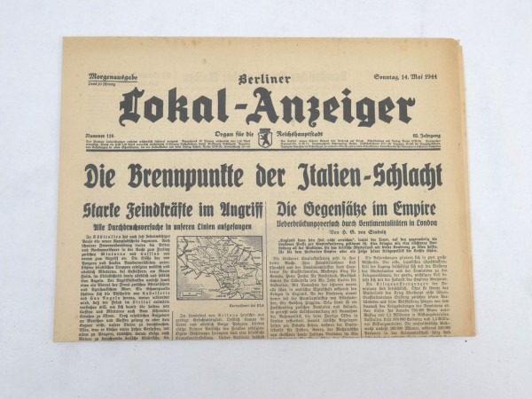 WK2 Complete daily newspaper - Berliner Lokal-Anzeiger May 14, 1944 - morning edition