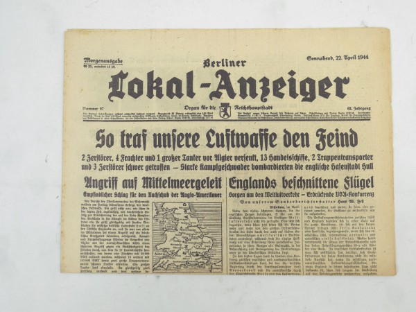 WK2 Incomplete daily newspaper - Berliner Lokal-Anzeiger 22 April 1944 - morning edition