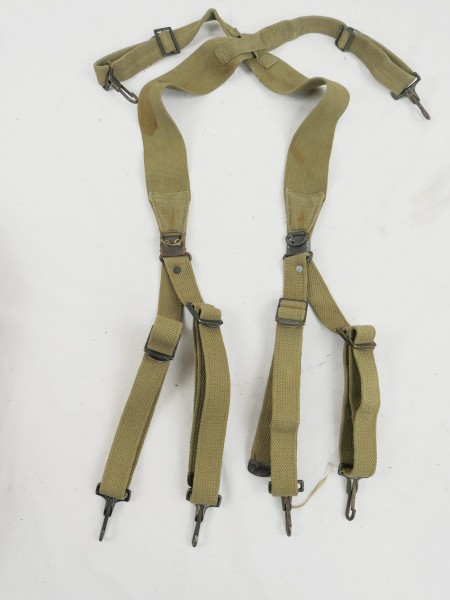 Original US Army WW2 Suspenders / belt stretcher dated Khaki 1941