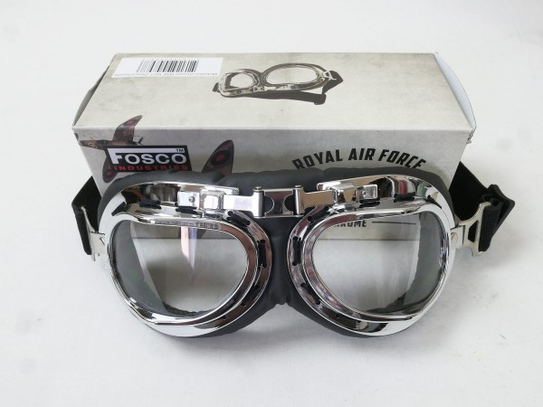 Vintage RAF aviator goggles motorcycle goggles biker goggles aviator pilot goggles glasses chrome