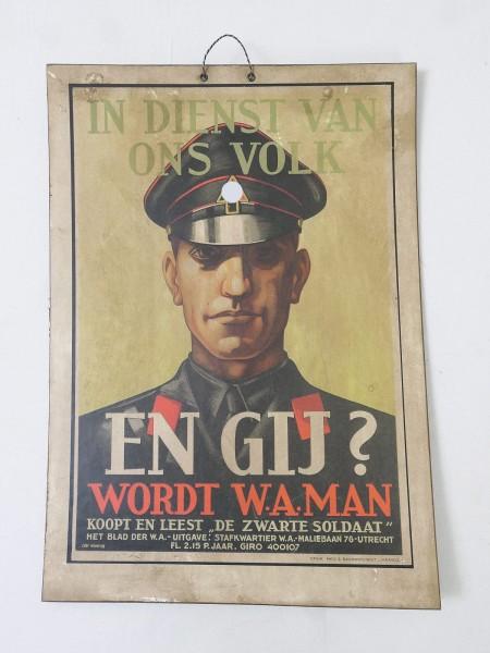 Wehrmacht Elite Netherlands The Black Soldier Vintage Poster Sign Advertising Poster Cardboard