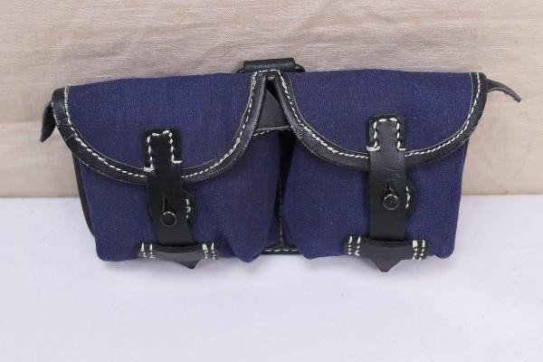 WK2 Luftwaffe G43 / K43 Canvas / Magazine pouch leather textile blue LW