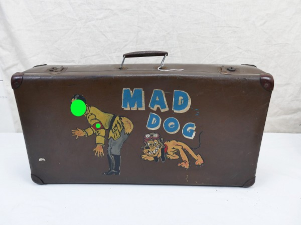 "US Nose Art Old School Vintage Tour Suitcase antique Comic AH with ""Mad Dog"