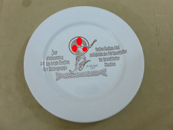 Remembrance Plate Memorial Plate SA Sports Festival 1933 of the subgroup Hessen-Nassau-Süd