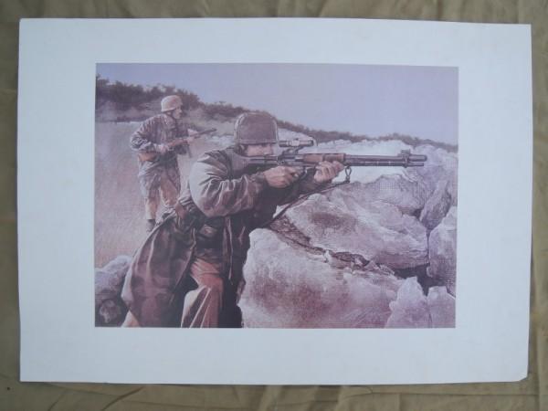 art print paratrooper FG42 Wehrmacht
