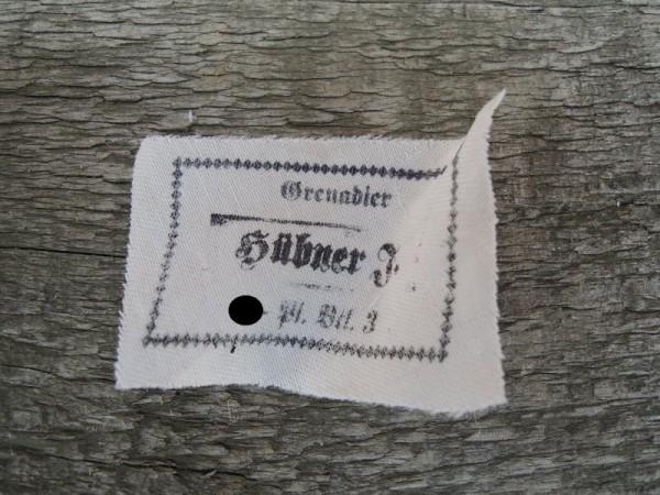"""Uniform / Hat Label """"Grenadier Hübner F. XX- Panzer Batalion 3rd"""" Nameplate"""