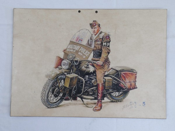 US WW2 US GI MOTORCYCLIST MP MILITARY Police SIGN SIGN SIGN POSTER CARDBOARD NOSTALGY