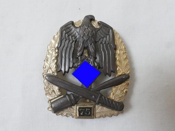 Wehrmacht General Storm Badge JFS with Mission Number 75 / Allgemeines Sturmabzeichen