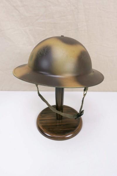 WW2 Plate Helmet British Steel Helmet Size 59 with Chin Strap British Army Camouflage