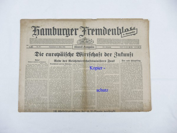 WK2 newspaper Hamburg daily newspaper - Hamburger Fremdenblatt 11 March 1944 - evening edition