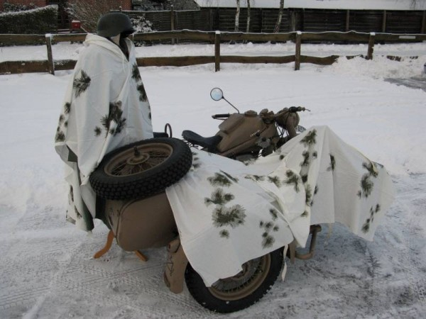 Snow camouflage poncho Vehicle camouflage Winter