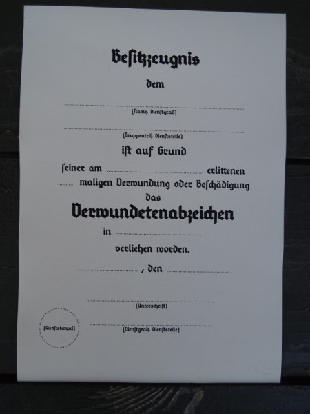 "Possession Certificate ""Wounded Badge"""