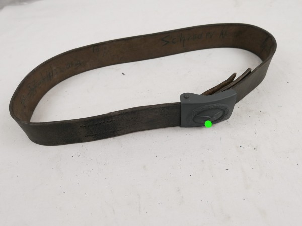 Luftwaffe leather belt + belt buckle blue grey / 90cm