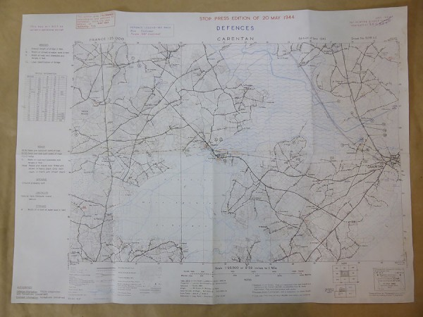 "US Army Map Landing Map ""Carentan"" 1944 Top Secret Map"