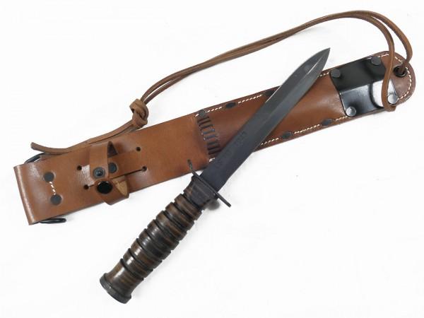 Combat knife USMC with leather sheath