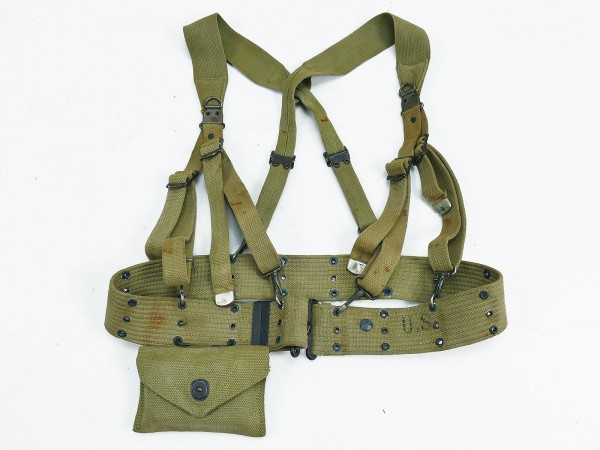 Set Original US WW2 Suspenders M1936 with pisto belt Koppel + First Aid Kit
