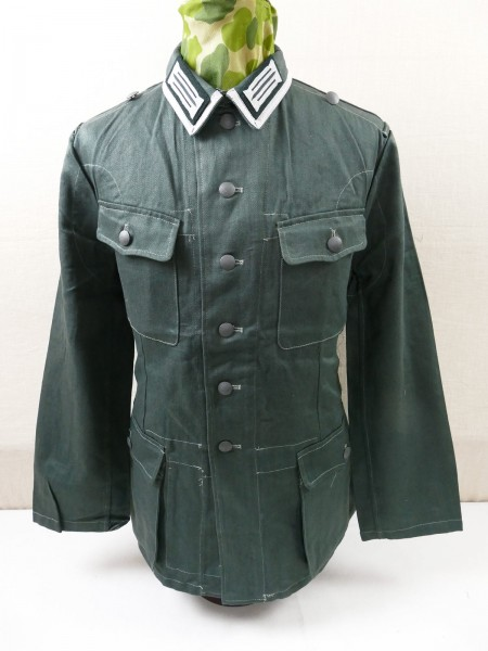 Wehrmacht Drillich Field Blouse Drillich Jacket M40 NCO Uniform with braid and collar mirrors