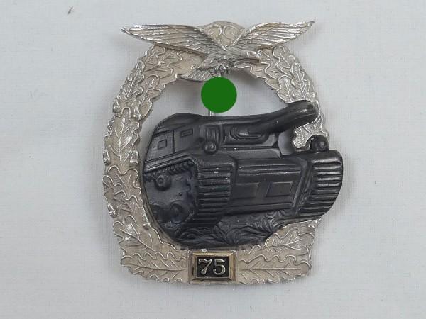 """Panzerkampfabzeichen Luftwaffe """"silver"""" with mission number 75"""