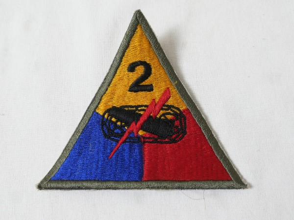 US ARMY WW2 patch 2nd Armored Division badge tank unit khaki edge