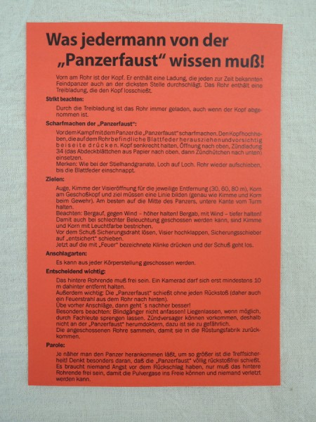 """Insert """"What everyone must know about the Panzerfaust!"""""""
