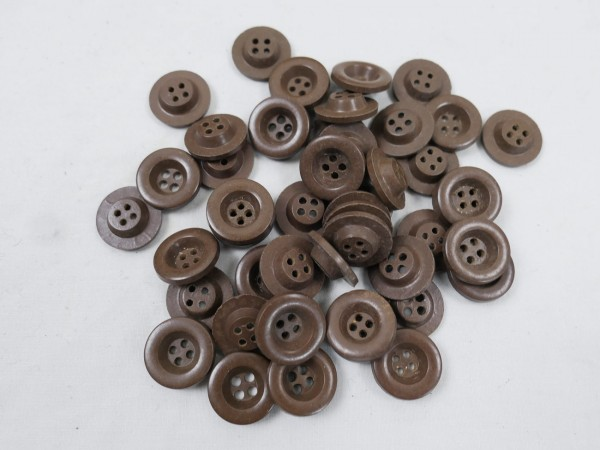 10x pcs. four hole buttons plastic brown Wehrmacht Zeltbahn uniform jacket trousers shirt 16mm button
