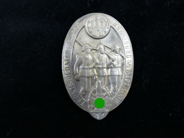 metal badge front soldiers meeting Kreuzburg September 1936 conference badge