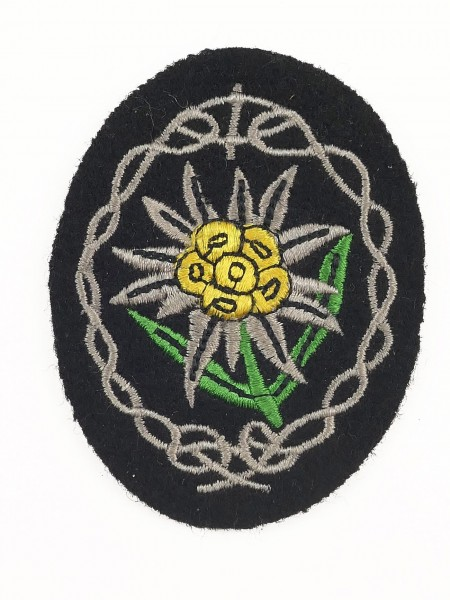 Mountain hunter Edelweiss embroidered on black cloth