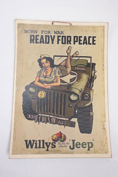 US Army WW2 Vintage PosterWillys Jeep - Born For War Ready For Peace