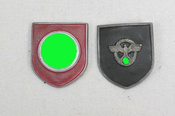 Wehrmacht 2x helmet badge pith helmet police