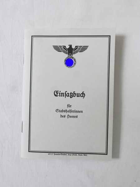 Wehrmacht book of operations identity card army staff assistant
