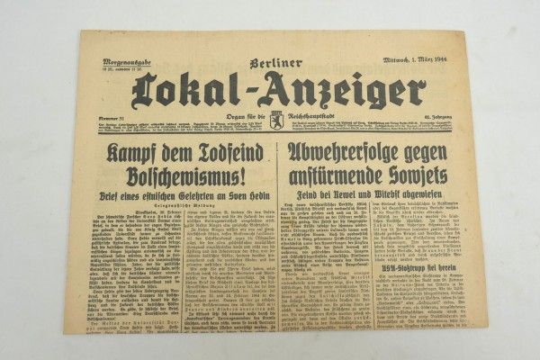 WK2 Complete daily newspaper - Berliner Lokal-Anzeiger 01.March 1944 - morning edition
