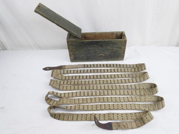 Blackless ammunition wooden box with ammunition belt cloth belt for 250 rounds Reichswehr 1925