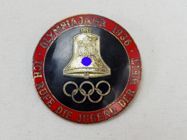 """Olympics Badge Event Badge Olympia 1936 """"I call the youth of the world"""""""