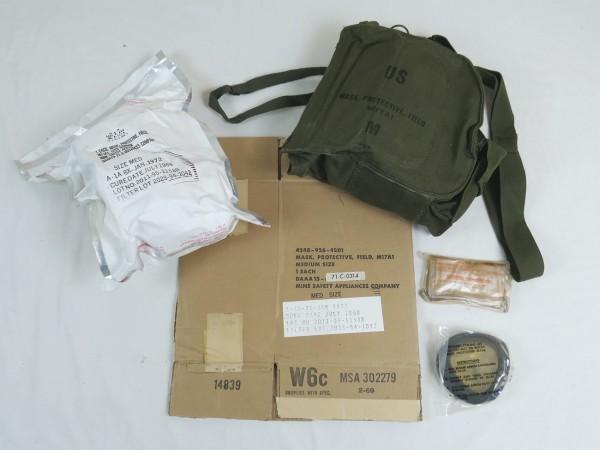Original US Vietnam Gas Mask M17A1 with Bag + Carton Mask Protective Field M17