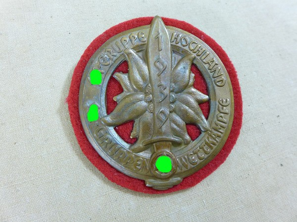Badge Shield SA-group competitions group Hochland 1939
