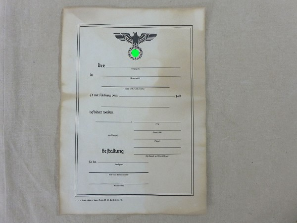 "Certificate of promotion ""Appointment"" antique , small"
