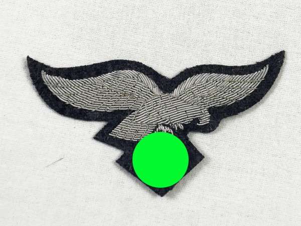Chest Eagle Luftwaffe on woollen cloth blue-grey embroidered with silver thread officer