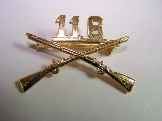 US Army 116th BOS branch of service collar badge