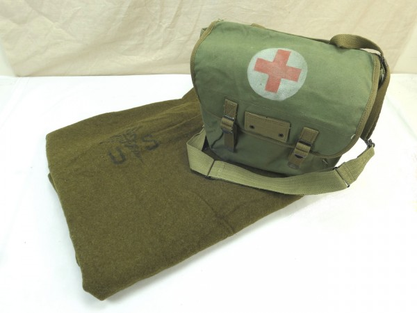 US Army Wool virgin Blanket Aesculab OD US Sani Blanket Medics medical corps