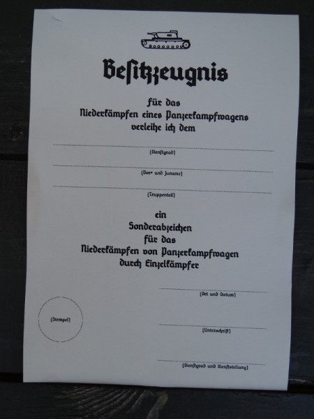 "Certificate of possession ""Panzervernichter"" (tank destroyer)"
