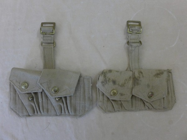 2x piece British Lee Enfield Rifle cartridge bag Webbing 50s